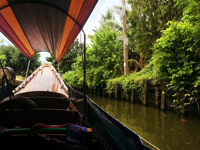 Blick aus dem Boot auf grüne Umgebung in Bangkok